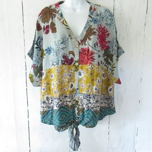 Umgee Top Floral Patchwork Mixed Print Tie Front